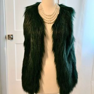 Jessica Simpson Green Faux Fur Vest